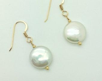Freshwater Coin Pearl 14K Gold Fill Earrings #AVEN1827