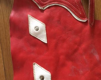 Vintage Red Leather with Stitched White Diamonds Kids Chaps