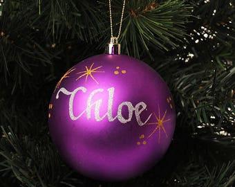 Purple Shatterproof Personalised Christmas Decoration