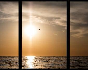 Sunset canvas seascape