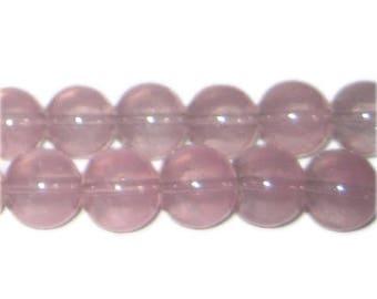 12mm Soft Plum Jade-Style Glass Bead, approx. 18 beads