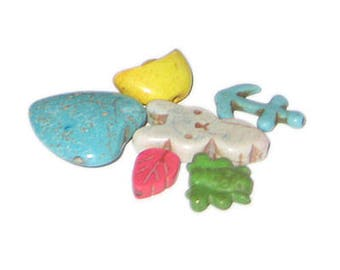 Approx. 1oz. Mix Dyed Turquoise Charms