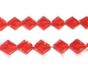 8mm Strawberry Red Bi-cone Fire Polish Glass Bead