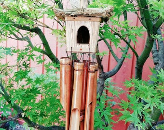 Bamboo birdhouse windchime