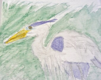 Great Blue Heron Watercolor Painting, A7 Watercolor Card, United States Bird Art, Original Painting