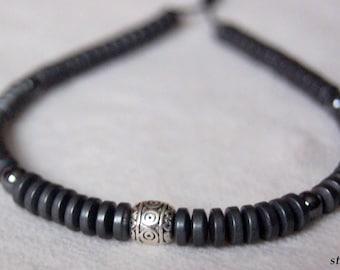 Matte hematite and Tibetan Bead Bracelet
