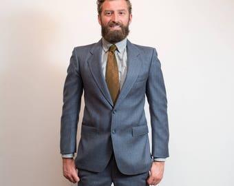 Vintage Men's Suit / 2-piece Wedding Groom Blue Wool Stripe Suit / Pants size 32-33, Jacket size 40 / Embassy Row / Pure Virgin Wool