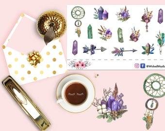 Boho Style Sticker, Boho Gemstone Planner Sticker, Boho Jewels Stickers, Watercolor Gems, Scrapbook Sticker, Planner Accessory - 14 Stickers