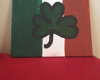 Watercolor Irish flag and clover canvas