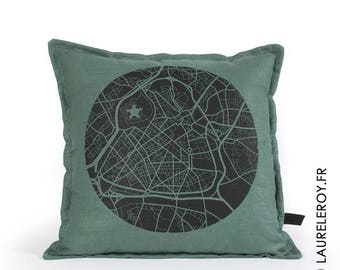 Lille removable green linen cushion