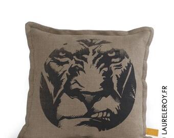 khaki and grey bi-material cushion
