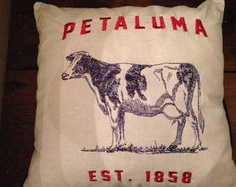 Embroidered Cow Pillow Cover