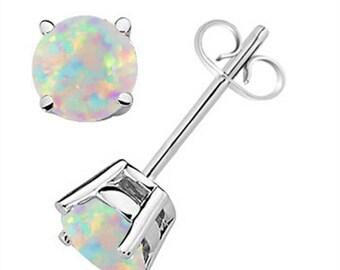Round Opal Earrings