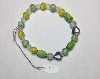 Green and Yellow Handmade Beaded Bracelet