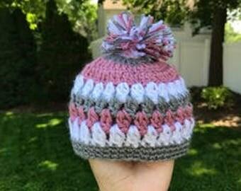 Hand Crochet Newborn Baby Beanie // Girl Baby Beanie // Baby Beanie With Pom Pom // Crochet Baby Hat