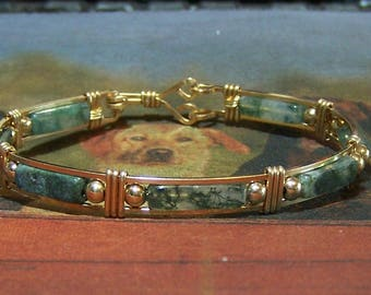 Moss Agate and Gold Fill Bracelet
