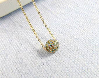 crystal ab pave bead necklace