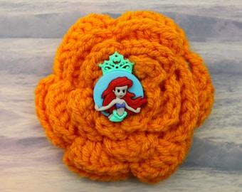 I Wanna Be Ariel Mermaid Crochet Flower Hair Barrette