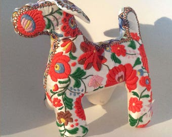 Art Sculpture Toy Dog House on silk hand embroidered textile