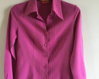 Vintage 90s  Woman Office Style Blouse  Elegant Pink Fuchsia Size M