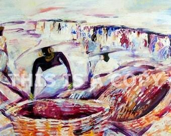 BASKET SELLERS: painting, African painting, African Art, original African art, downloadable art