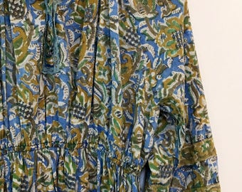 Vintage Indian cotton block print dress with lace and buttons