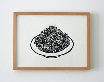 Spaghetti plate woodcut, woodblock print, print, print, original art