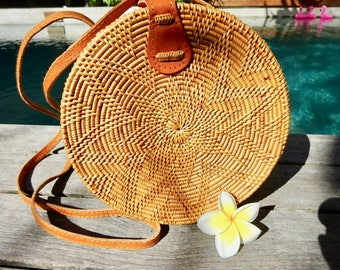 Lana Round Woven Rattan Bag, Shoulder Bag, Crossbody Bag, Basket Bag - leather snap closure