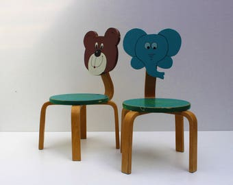 Pair/couple Vintage Toddler Chairs Beer And Elephant. Small Kids Chair  Wooden Chair School