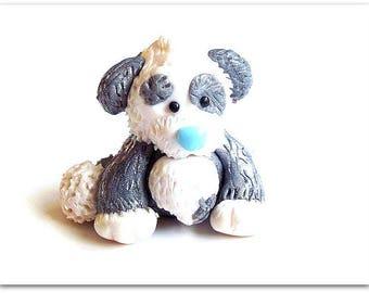 Keychain jewelry small dog Plumy Fimo