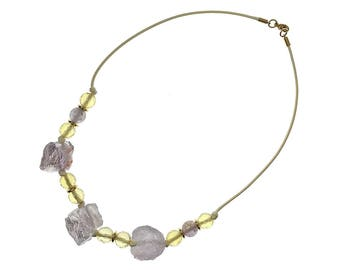 Raw Lavender Amethyst Necklace