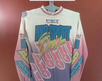 Vintage Axo Sport Shirt Long Sleeve Motocross Shirt Spellout Fullprint Shirt White Colour Made USA X Game Shirt