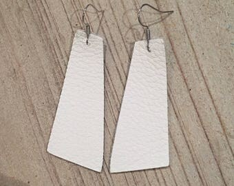 White geometric leather earrings