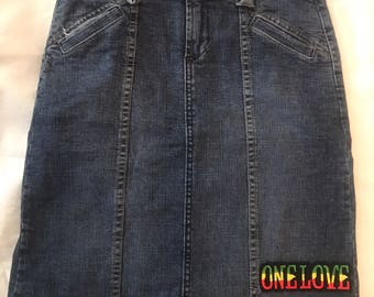 RASTA up-cycled Denim Skirt ONE LOVE sz S