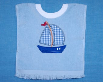 Sailboat Over-the-Head Terrycloth Bib