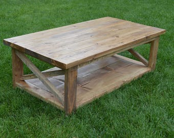 Country Rustic Coffee Table | Farmhouse Coffee Table | Coffee Table | Living Room Coffee Table | Coffee Table | Rustic Furniture