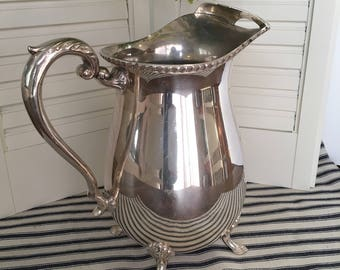 Antique Silver-plated water pitcher, Vintage pitcher, Footed pitcher, French decor, Farmhouse decor