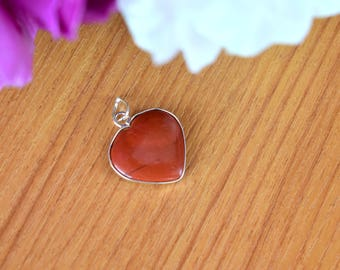 Natural Red Jasper Heart Pendant - 20mm