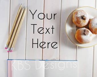 White Wood Table with Donuts and Notebook /Stock Photo/ Styled Photo Background/ Social Media /Styled Stock Photography