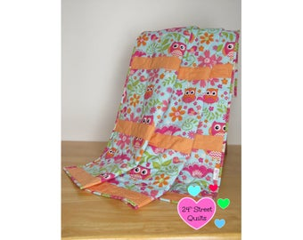 Baby Quilt, Baby Blanket, Crib Quilt   Pink and Orange Owl
