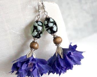Bohemian floral blue earrings