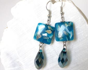square blue and crystal drop earrings.