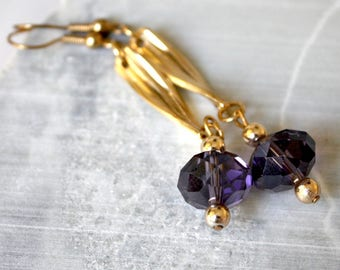 Purple Crystal and gold earrings