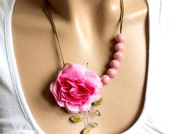 Ceramic Bead Necklace in pink floral.