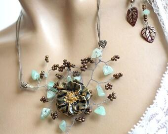 Anemone flower leaf necklace cold porcelain