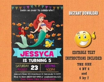 Little Mermaid invitation, Little Mermaid , Little Mermaid birthday, Little Mermaid invites,PDF editable invitation, Little Mermaid party,SL