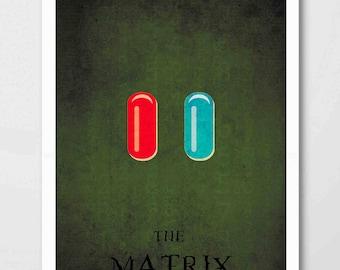 The Matrix Minimalist Print - The Matrix  Poster Print, The Matrix  Film Wall Art, Red / Blue Pill Minimalist Art Print