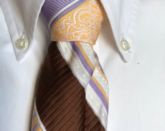 70s Vintage Purple Gold Brown White Striped Beau Brummell Tie
