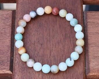 Amazonite bracelet, beaded gemstone bracelet, multi-color stone, amazonite jewelry, stacking bracelet, yoga bracelet, turquoise bracelet