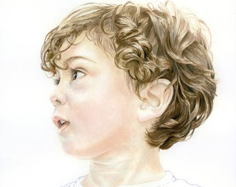 6x6 Color Custom Watercolor Portrait